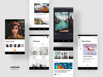 Awesome Android UI Kit I ui8 gallery newsfeed travel mobile design ecommerce profile blog vector adobexd figma sketch templates material material ui android app android app mobile ui kit