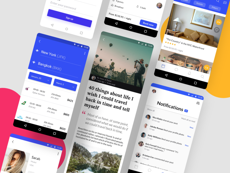 Awesome Android UI Kit II ui kit mobile app android android app material ui material templates sketch figma adobexd vector blog profile ecommerce mobile design travel newsfeed gallery ui8