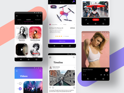 Awesome Android UI Kit III vector ui kit ui8 travel templates sketch profile newsfeed mobile design mobile material ui material gallery figma ecommerce blog mobile app android app android adobexd