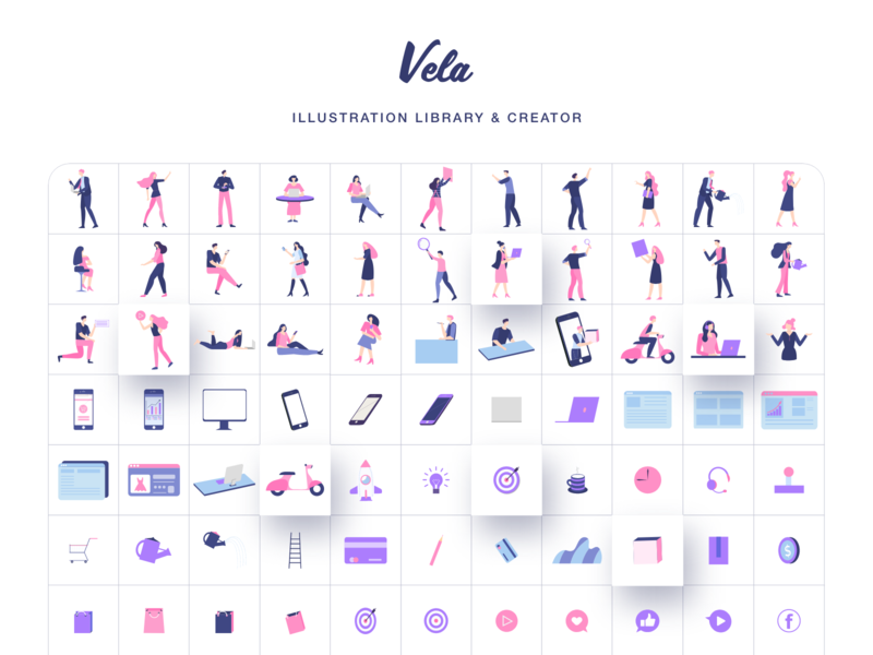Vela Illustration Library II ecommerce figma adobexd sketch illustrator svg templates ui8 web mobile scene vectors library people illustration creator generator vector illustration art illustrations illustration