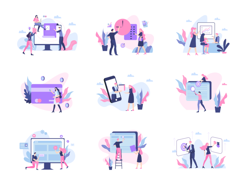 Vela Illustration Library III business illustration design svg people illustration generator library system illustrations illustrator sketch figma adobexd web mobile profile vector ui8 ui kit illustration ecommerce