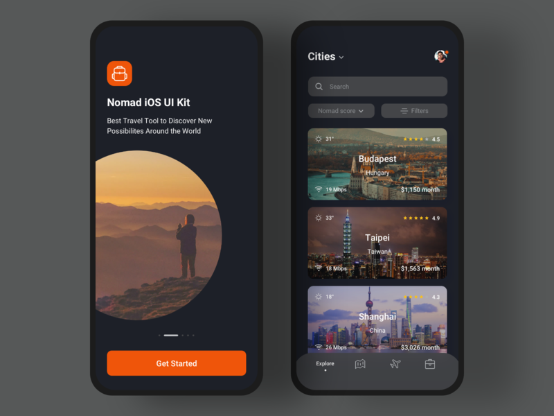 🎒Nomad iOS UI Kit with Design System II filter onboarding digital nomad backpack nomad cities explore trips trip traveling vector mobile travel ios app templates ui8 ui kit figma sketch