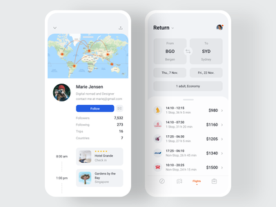 🎒Nomad iOS UI Kit with Design System III nomad digital nomad countries iphone trips map traveling flights system design design system app templates ios travel mobile profile ui8 ui kit sketch figma