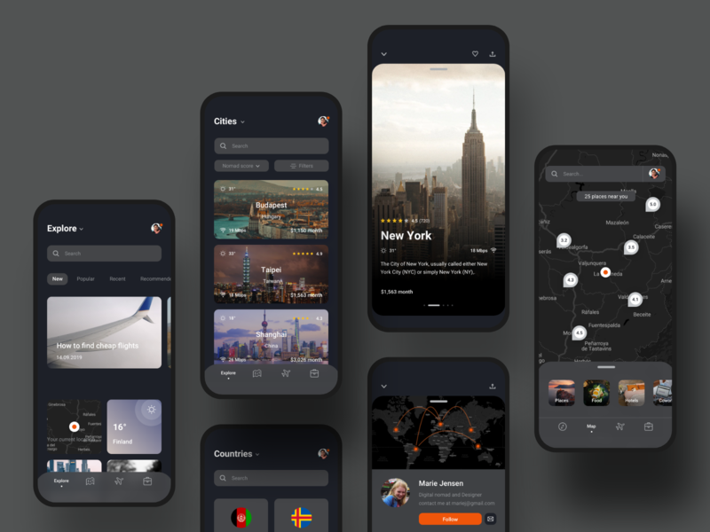 🎒Nomad iOS UI Kit with Design System IV trips explore apps dark countries city map digital nomad travel app nomad system design design system ios travel profile app templates ui kit ui8 mobile