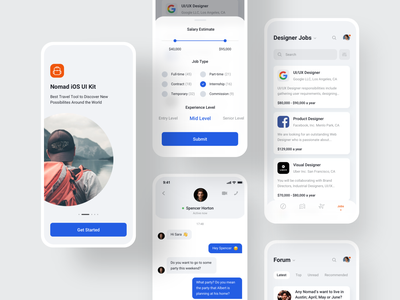 🎒Nomad iOS UI Kit with Design System V backpack search designer topic traveling digital nomad nomad job forum chat jobs filters onboarding ios travel templates app mobile ui8 ui kit
