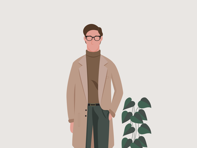 Carl vector graphic design coat glasses man plants design flat illustration