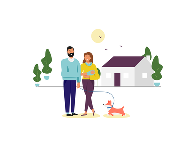New Home mother father family home house icon branding design brand vector flat illustration il graphic design