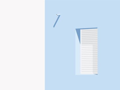 The Window. wall building vector pastel palette details shadow blue window illustration