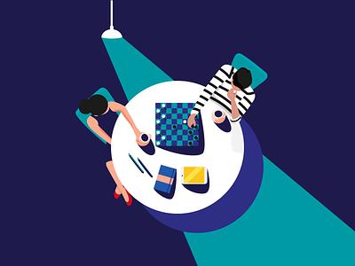 Digital Marketing Strategy flat game chess lighting french illustration strategy marketing digital