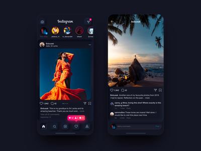 Instagram Redesign Concept | Neumorphism | Darkmode