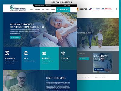 Westmoreland Insurance design adobe photoshop ux web design
