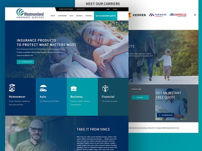 Westmoreland Insurance design adobe photoshop ux web design