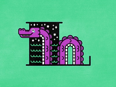 L - Loch Ness Monster vector typography type mythical minimal lettering letter illustration graphic design design custom type monster nessie lochness l alphabet 36daysoftype 36 days of type