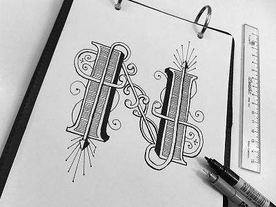 N - Type capitular type handmade caligraphy practice n