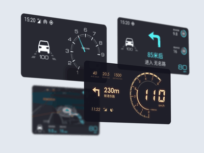 Dashboard navigation speedometer dashboad hud design ux ui