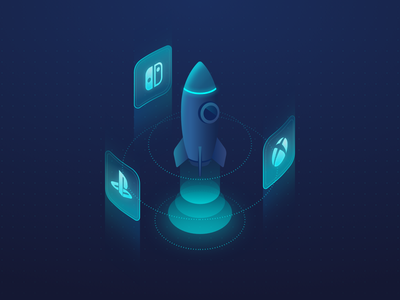 Boosting Console Games uu technology rocket illustration web ui