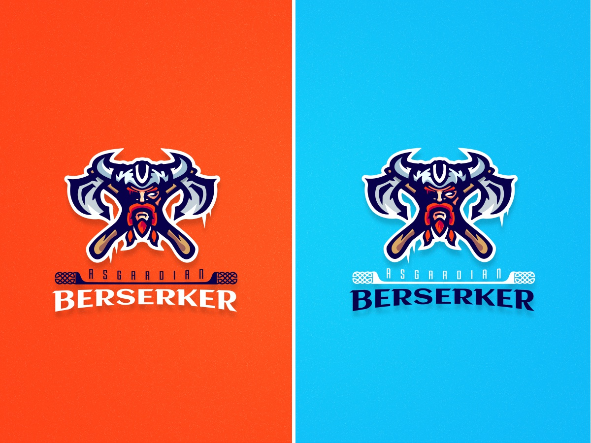 Asgardian Berserker Mascot Logo axes viking logodesinger illustration dribbbler design symbol gaming mascot dribbble blue esport logo