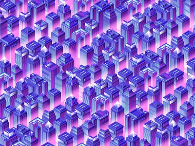 Ultraviolet city at night. ultraviolet neon night isometric town city illustration design vector artwork art