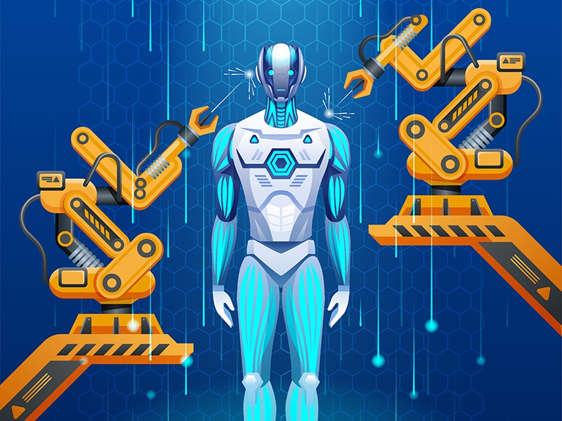 Artificial intelligence creation of robot