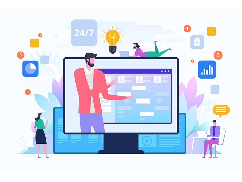 Customer service, male hotline operator advises client client advises operator hotline service customer concept icon flat design artwork art vector illustration