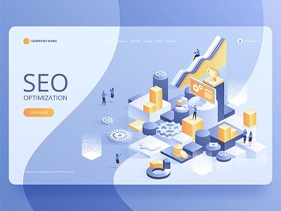 Seo optimization for website and mobile website. landing page website optimization seo online concept icon design artwork art vector illustration