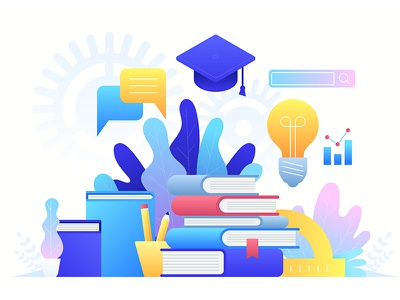 Online Education, training courses, distance education tutorials book courses training online education concept icon flat design artwork art vector illustration