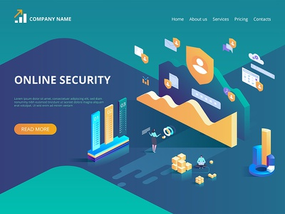 Online security, secure internet browsing. isometric protection data internet security online concept icon design art vector illustration