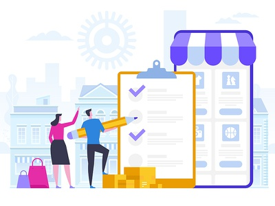 Online Shopping and Delivery of Purchases shop sale ecommerce purchases delivery shopping online concept icon flat artwork art vector illustration
