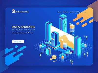 Data Analysis for website and mobile website. isometric analysis data concept design vector illustration