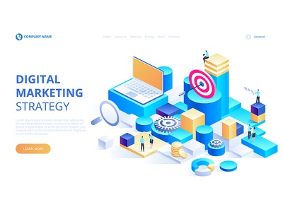 Business analysis, content strategy and management concept. webdesign web technologies digital ideas innovative isometry isometric design artwork art vector illustration