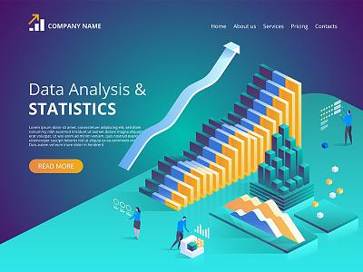 Data Analysis. Vector isometric illustration for landing page. webdesign web technologies digital ideas innovative isometry isometric design artwork art vector illustration