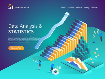 Data Analysis. Vector isometric illustration for landing page.