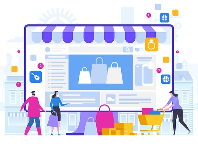 Online Shopping and Delivery of Purchases. Ecommerce Sales webdesign web character flat design artwork art vector illustration