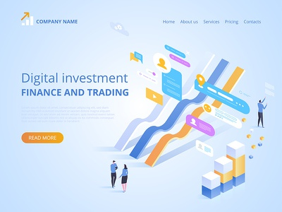 Digital investment. Online statistics webdesign web technologies digital ideas innovative isometry isometric design artwork art vector illustration