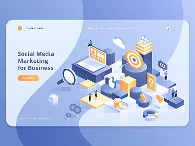 Marketing Strategy for Business webdesign web technologies digital ideas innovative isometry isometric design artwork art vector illustration