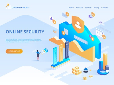 Online security, secure internet browsing webdesign web technologies digital ideas innovative isometry isometric design artwork art vector illustration