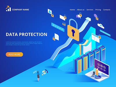 Data protection concept webdesign web technologies digital ideas innovative isometry isometric design artwork art vector illustration