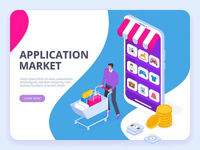 Application market concept. webdesign web technologies digital ideas innovative isometry isometric design artwork art vector illustration