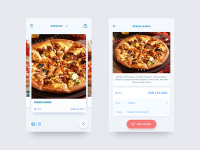 Dominos Pizza Redesign Concept card uiux restaurant order inspiration app food pizza dominos blue