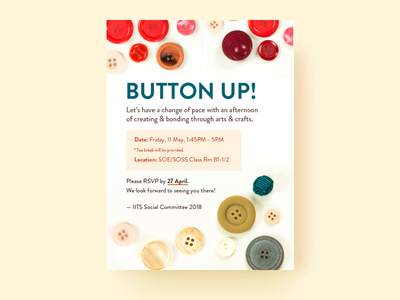 Button Up mailer invitation