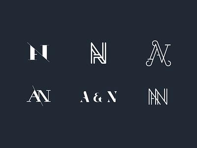 A & N monogram studies logos an wedding monogram