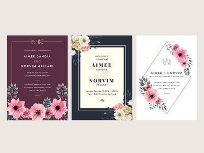 A+N Wedding Invite Studies geometric floral wedding invitation invitation an wedding monogram