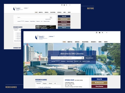 Library Redesign homepage library layout web singapore management university