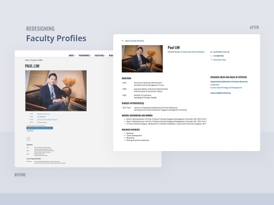 Redesigning Faculty Profiles profile redesign website layout singapore management university