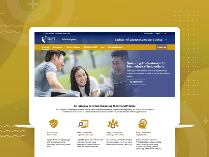 Bachelor of Computer Science website it icon homepage layout singapore management university