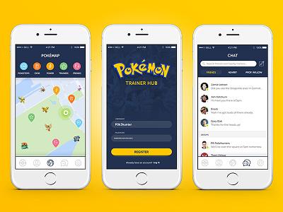 Pokemon GO Trainer Hub UI log in sign in maps map message messaging app ux ui mobile go pokemon