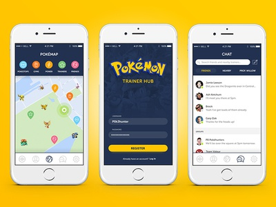 Pokemon GO Trainer Hub UI log in sign in maps map message messaging app ux ui mobile go pokemon