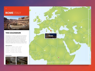 World Map Travel Guide  grid navigation ux ui map guide travel