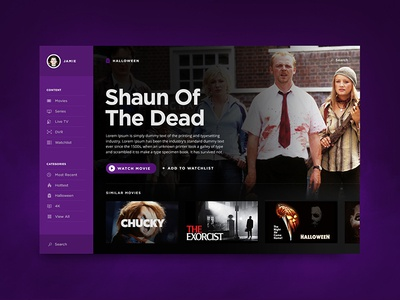 Happy Halloween! imdb film dashboard guide movie purple ux netflix tv ui halloween