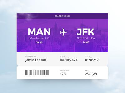 Boarding Pass widget vacation ui travel purple pass holiday flight card boarding